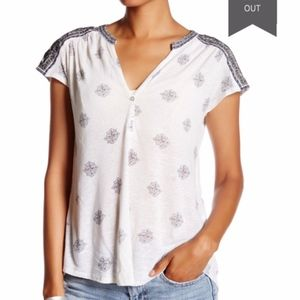 LUCKY BRAND Embroidered Linen Henley Blouse White